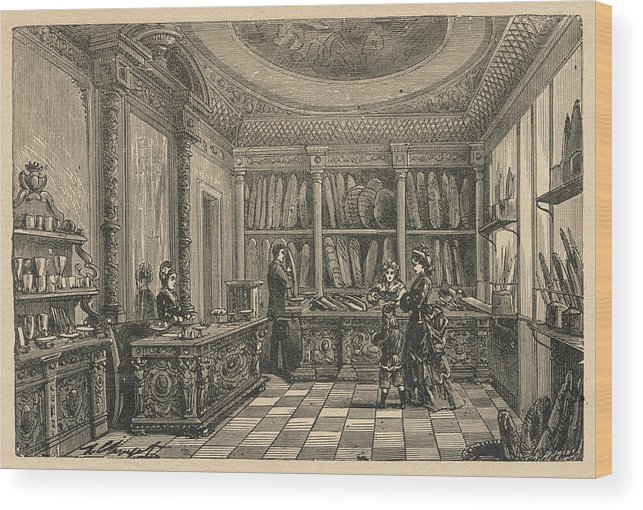 Trade Wood Print featuring the drawing An Elegant French Boulangerie by Mary Evans Picture Library