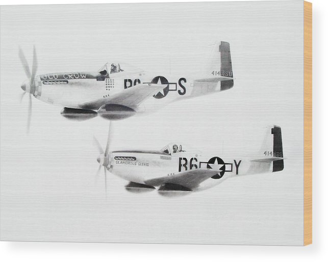 Aviation Art Wood Print featuring the drawing Anderson And Yeager by Scott Alcorn