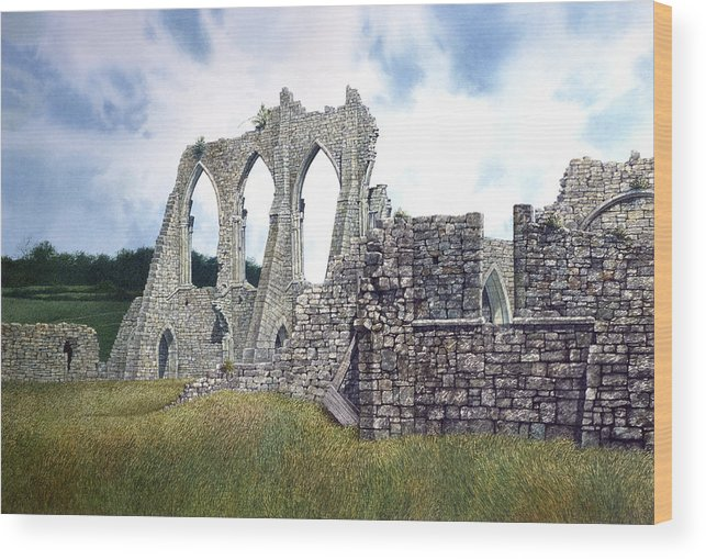 Landscape Wood Print featuring the painting Arches Of Bayham Abbey by Tom Wooldridge