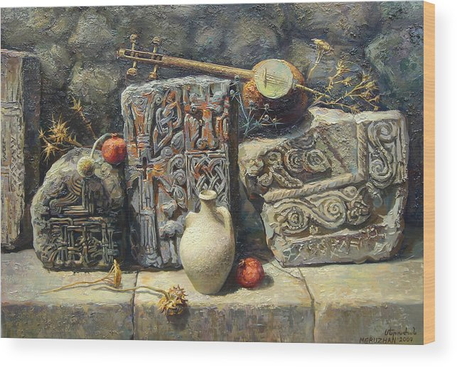 The Armenian Stones Wood Print featuring the painting Armenian Stones by Meruzhan Khachatryan