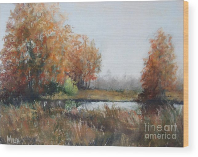 Autumn Landscape Focusing On The Warm Golds And A Touch Of Green. Wood Print featuring the painting Autumn Study 1 by Paula Wild