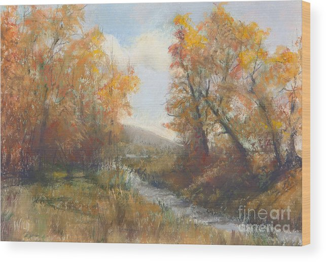 Landscape Featuring Autmn Golds Wood Print featuring the painting Autumn Study 3 by Paula Wild