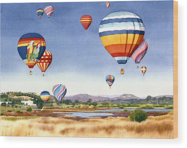 Encinitas Wood Print featuring the painting Balloons Over San Elijo Lagoon Encinitas by Mary Helmreich