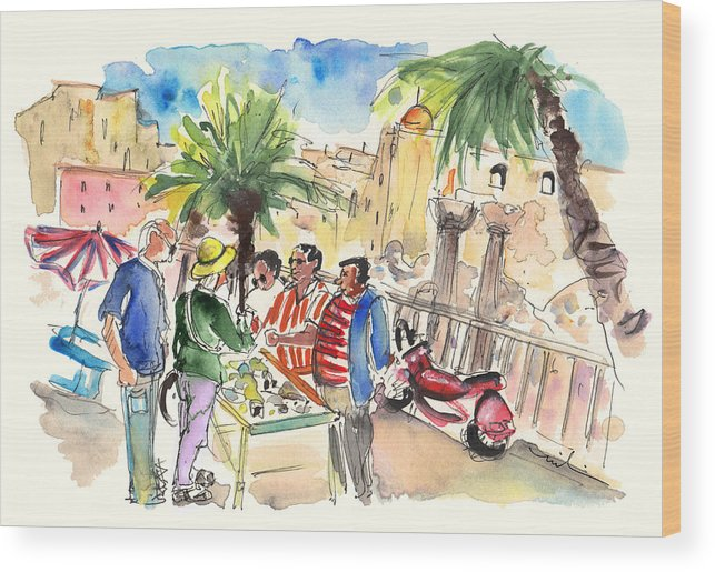 Travel Wood Print featuring the painting Bargaining Tourists In Siracusa by Miki De Goodaboom