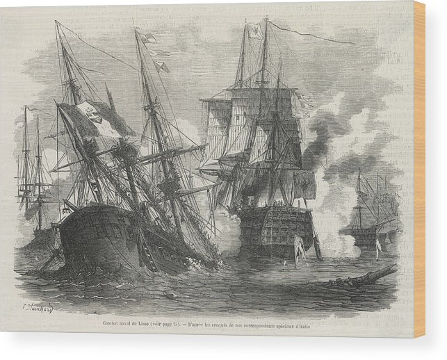 Events Wood Print featuring the drawing Battle Of Lissa Austrians Defeat by Mary Evans Picture Library
