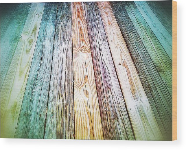 Boardwalk Wood Print featuring the digital art Boardwalk by Olivier Calas