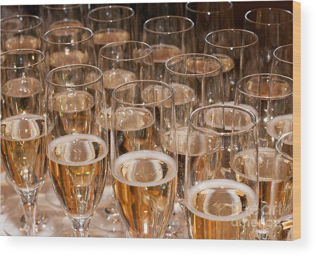 Champagne Wood Print featuring the photograph Champagne 02 by Rick Piper Photography