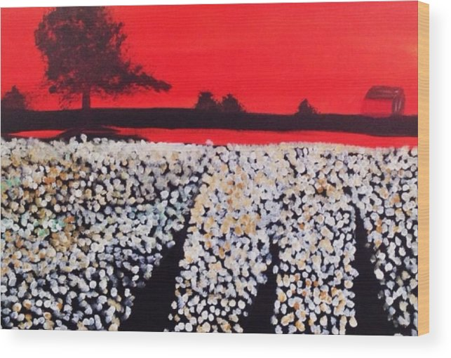 Wood Print featuring the painting Cotton Field by David Cotton
