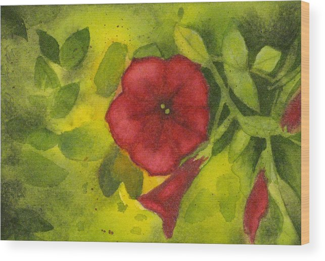 Red Wood Print featuring the painting Crimson Petunia by Tanya Petruk
