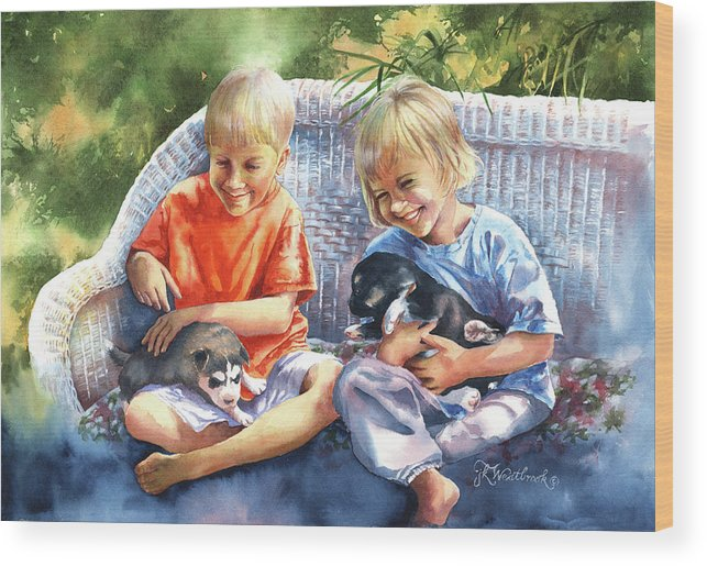 Children Wood Print featuring the painting Dakotas Puppies by Jill Westbrook