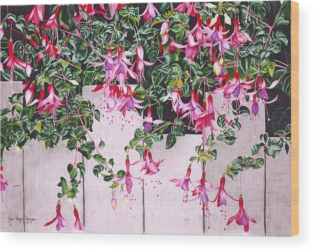 Fuchsias Wood Print featuring the painting Dangling Damsels by Gael Graysen