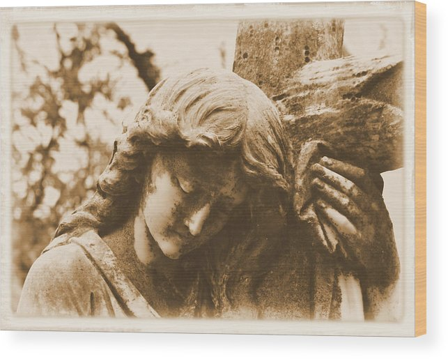 Angel Wood Print featuring the photograph Devotion by Nadalyn Larsen
