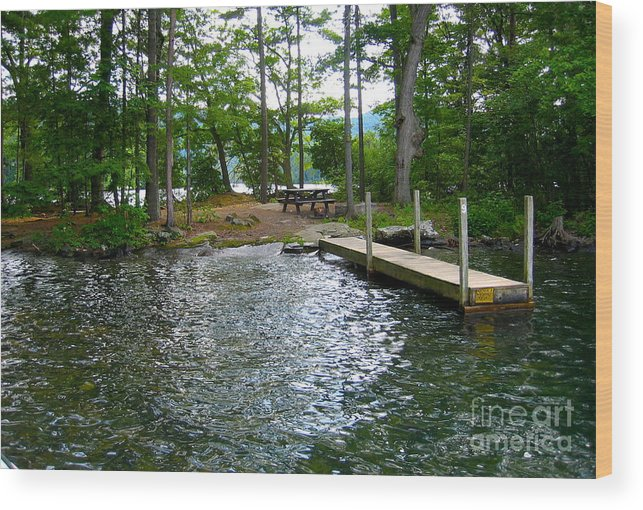 Lake George Wood Print featuring the photograph Dock Side Camping by Adam Klos
