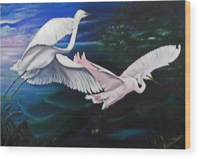 Snowy Egrets Wood Print featuring the painting Early Flight by Karin Dawn Kelshall- Best