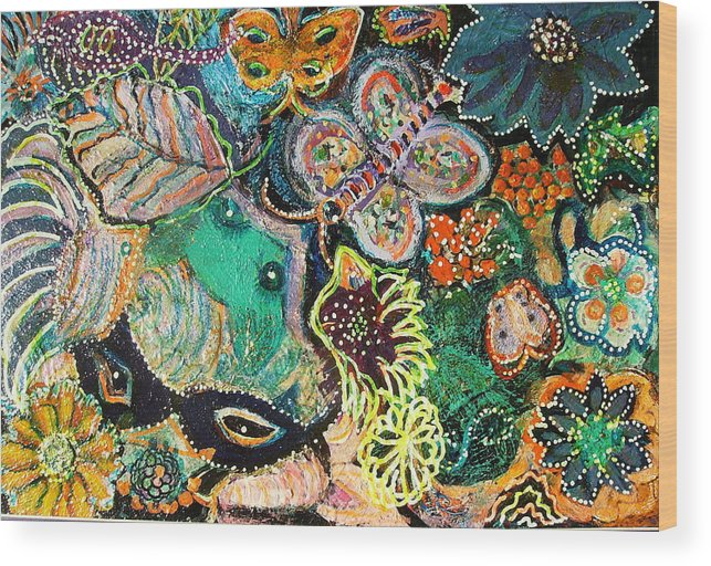 Colorful Wood Print featuring the mixed media Eyes In Hiding by Anne-Elizabeth Whiteway