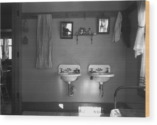 1936 Wood Print featuring the photograph Farmhouse Washroom, 1936 by Granger