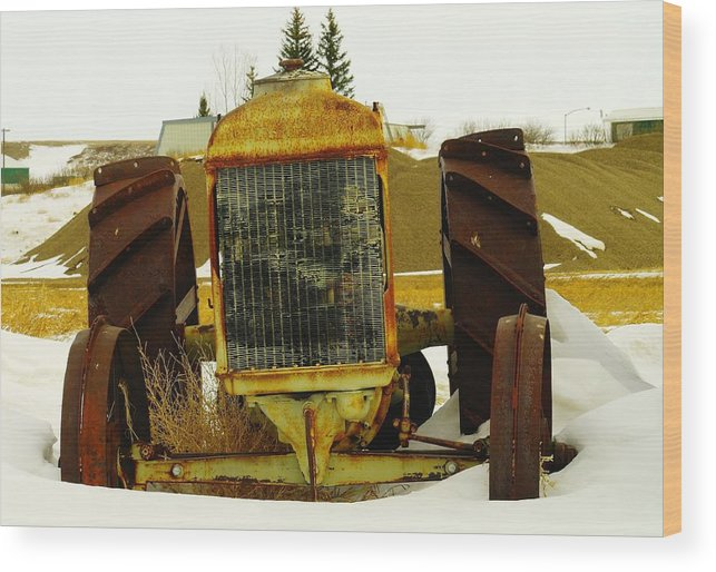 Eastern Montana Wood Print featuring the photograph Fordson Tractor Plentywood Montana by Jeff Swan