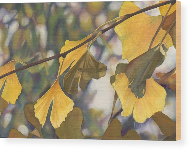 Ginkgo Wood Print featuring the painting Ginkgo Gold by Sandy Haight