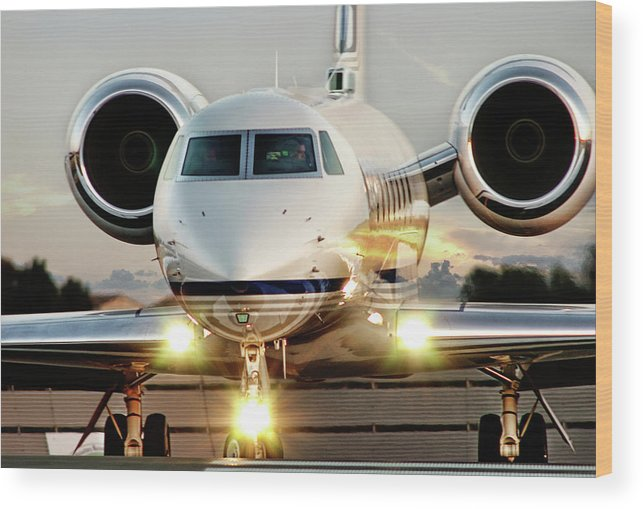 James David Phenicie Wood Print featuring the photograph Gulfstream G550 by James David Phenicie