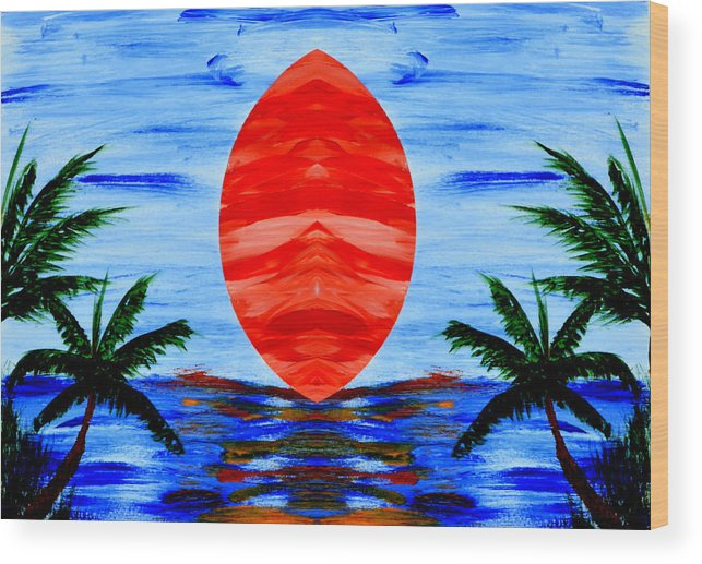 Asbstract Wood Print featuring the painting Happy Island by Alexander Alvarez