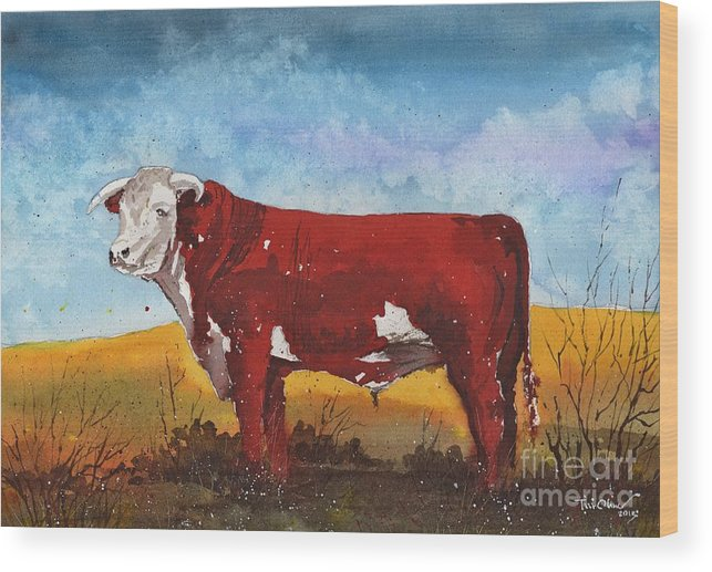 Hereford Bull Wood Print featuring the painting Hereford Bull by Tim Oliver
