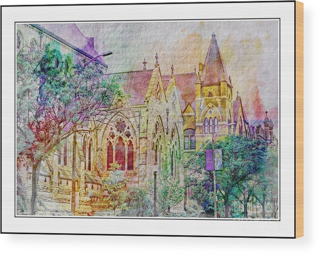 Architecture Wood Print featuring the photograph Historic Churches St Louis Mo - Digital Effect 5 by Debbie Portwood