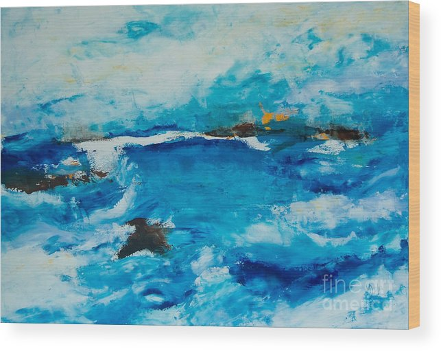Sea Landscape Wood Print featuring the painting Horizont1 by Martina Dresler