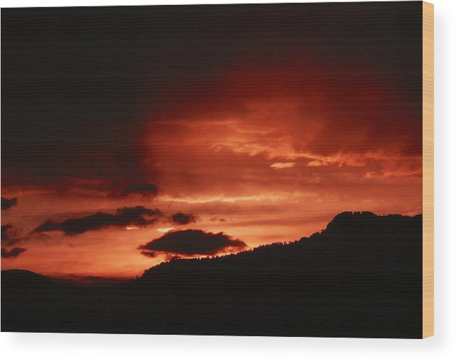 Nature Wood Print featuring the photograph Horsetooth Sunset by David Kehrli