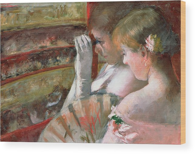 Mary Stevenson Cassatt Wood Print featuring the painting In The Box by Mary Stevenson Cassatt