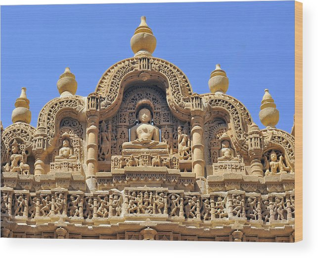 Art Wood Print featuring the photograph India, Rajasthan, Bas-relief On The Frontage Of A Jain Temple In Jaisalmer by Daniele SCHNEIDER