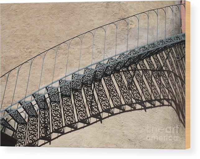 Stairs Wood Print featuring the photograph Iron Stairs Shadow by Christiane Schulze Art And Photography