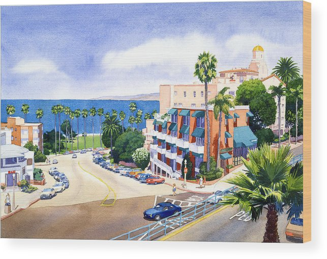 La Jolla Wood Print featuring the painting La Valencia And Prospect Park Inn Lj by Mary Helmreich