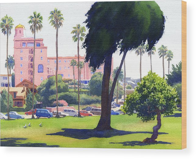 La Valencia Wood Print featuring the painting La Valencia Hotel And Cypress by Mary Helmreich