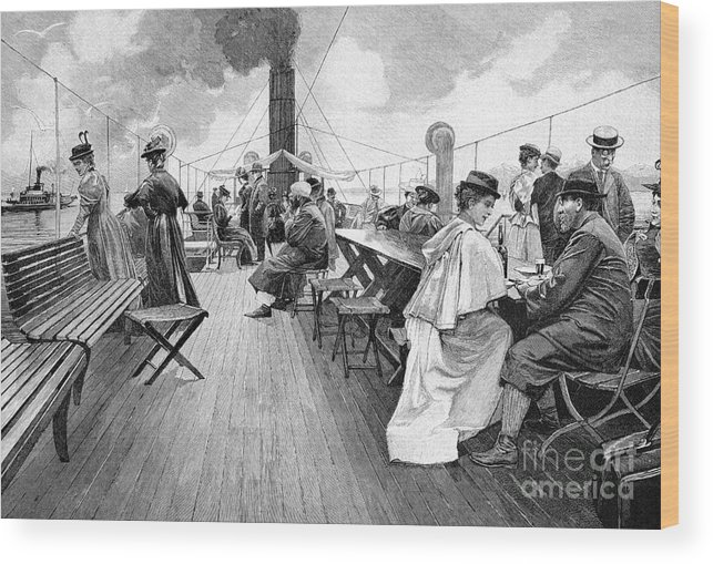 Artwork Wood Print featuring the photograph Lake Constance Steamer Passengers, 1890s by Bildagentur-online