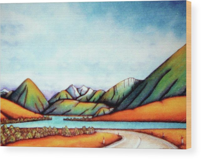 Lake Pearson Wood Print featuring the painting Lake Pearson 1999 Si Nz by Barbara Stirrup