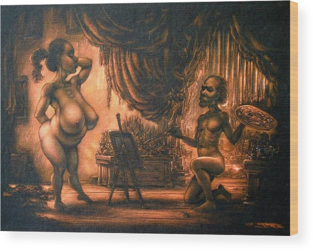 Nude Wood Print featuring the painting Life Class by Eric Bakke