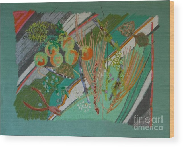 Still Life Wood Print featuring the painting Methow Valley Porch by Judith Van Praag