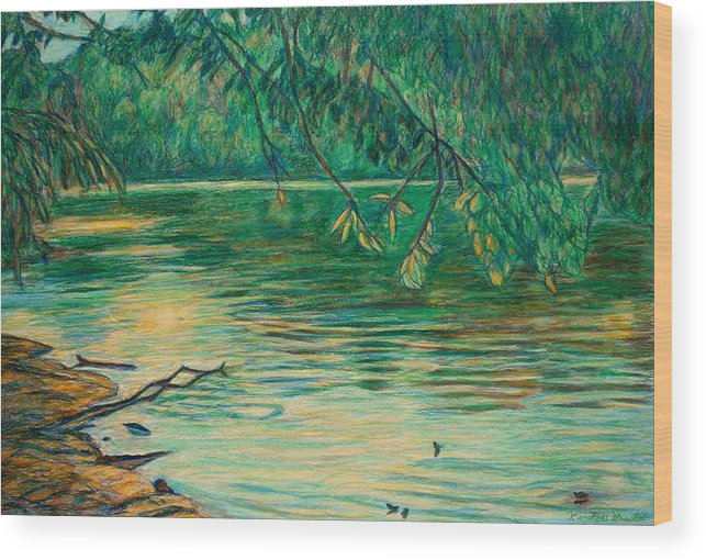 Landscape Wood Print featuring the painting Mid-spring On The New River by Kendall Kessler