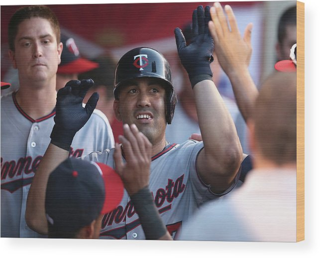 Second Inning Wood Print featuring the photograph Minnesota Twins V Los Angeles Angels Of by Stephen Dunn