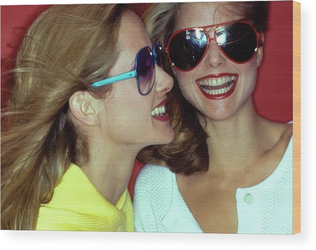 Beauty Wood Print featuring the photograph Models Wearing Sunglasses by Jacques Malignon