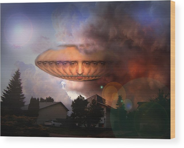 Surrealism Wood Print featuring the digital art Mystic Ufo by Otto Rapp