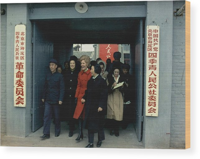 History Wood Print featuring the photograph Nixon In China. Pat Nixon Visiting by Everett