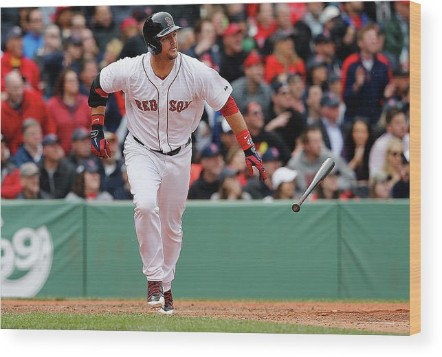 American League Baseball Wood Print featuring the photograph Oakland Athletics V Boston Red Sox by Jim Rogash