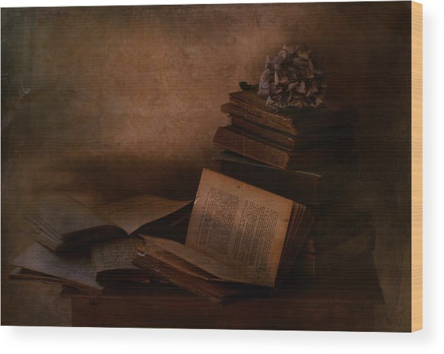 Books Wood Print featuring the photograph Old Books by Delphine Devos