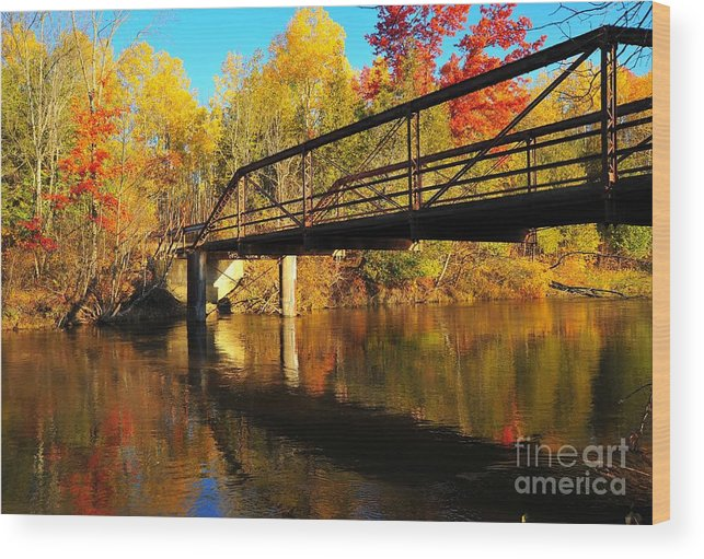 Bridge Wood Print featuring the photograph Historic Harvey Bridge Over Manistee River In Wexford County Michigan by Terri Gostola