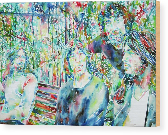 Pink Wood Print featuring the painting Pink Floyd At The Park Watercolor Portrait by Fabrizio Cassetta