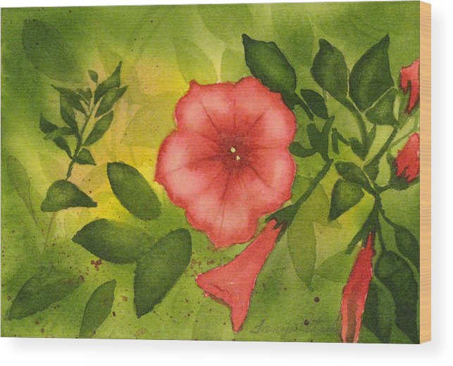 Pink Wood Print featuring the painting Pink Petunias by Tanya Petruk