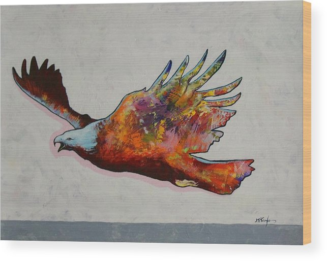 Wildlife Wood Print featuring the painting Rainbow Warrior Flying Eagle by Joe Triano