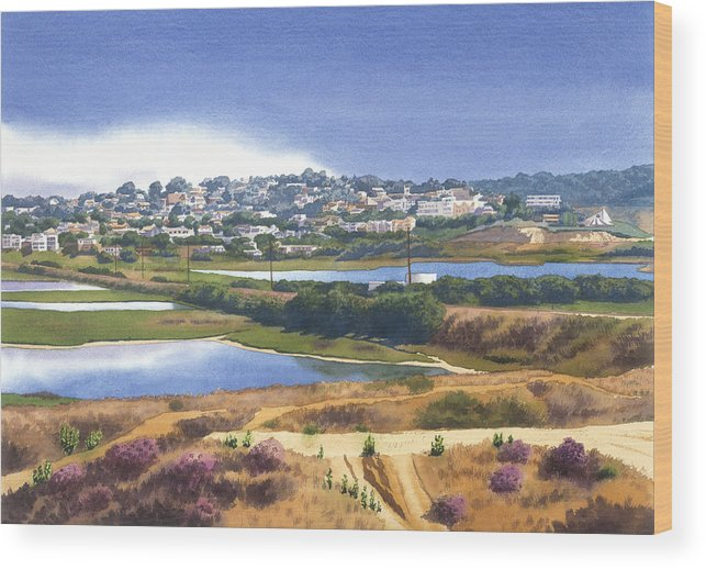 San Elijo Wood Print featuring the painting San Elijo And Manchester Ave by Mary Helmreich
