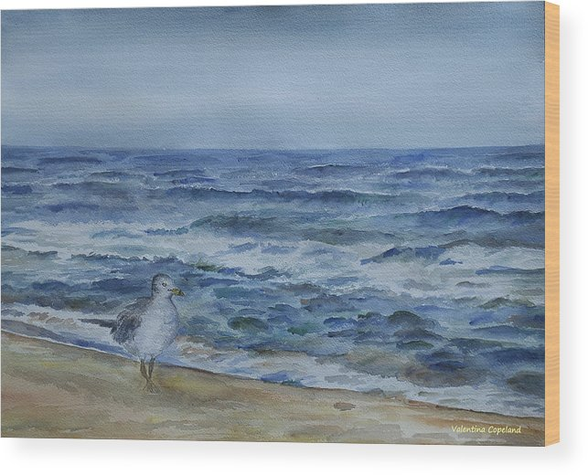 Sea Wood Print featuring the painting Cold Morning by Valentina Copeland